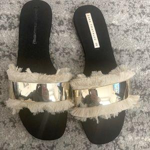 Zara Fringe Metal Black Slides
